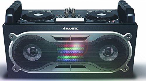 Majestic AH 245 DJ BT MP3 USB AX - Sistema Audio Bluetooth Dj Sound System 80watt, Doppio Deck con Effetti Delay/Scratch/Pitch, Ingressi USB/aux-in/Microfono/Chitarra, Nero