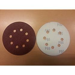 50 Piezas Discos de pulir velcro ø 125 mm Tamaño de grano 80 para Lijadora orbital 8-agujeros