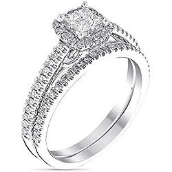 "Solitaire Alliance Or Blanc et Diamants 0,52 carats""Brillant Duo"""