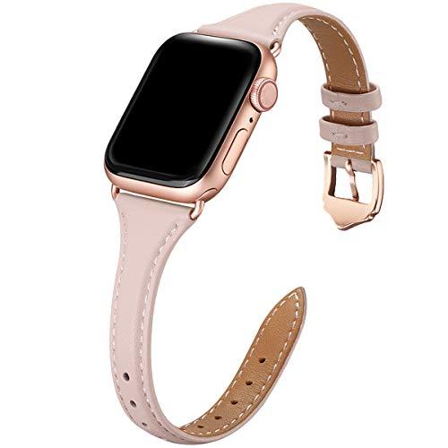 WFEAGL Compatibile Con Cinturino Apple Watch 38mm 40mm 42mm 44mm, Multicolore Ultrasottile Pelle Cambiamento Cinturini Compatibile Con iWatch Serie 5/4/3/2/1(38mm 40mm,Rosa Chiaro+adattatore oro rosa)