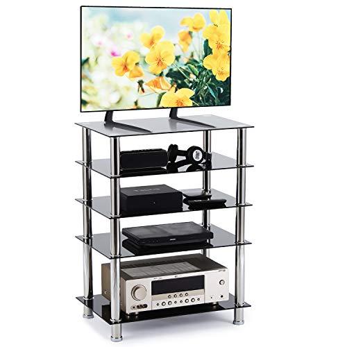 RFIVER Supporto HIFI Mobile HIFI Supporto per TV Media Componente con 5 Ripiani in Vetro Temperato...