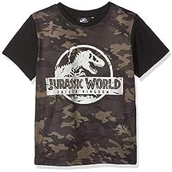 "Jurassic Park"" Camo, Camiseta para Niños, Verde (Khaki) 4-5 años"