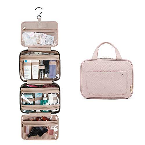 BAGSMART Kulturtasche zum Aufhängen Kulturbeutel Kosmetiktasche Damen Reise Transparent für Makeup, Toilettenartikel (Rosa)