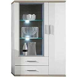 trendteam AA Highboard Wohnzimmerschrank | Weiß | Eiche Sägerau Hell | 90 x 135 cm | Inkl. LED Beleuchtung