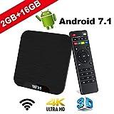 TV Box Android 7.1 - VIDEN W2 Smart TV Box [2018 Ultima Generazione] Amlogic  Quad-Core, 2GB RAM & 16GB ROM, Video 4K UHD H.265, 2 Porte USB, HDMI, WiFi Web TV Box
