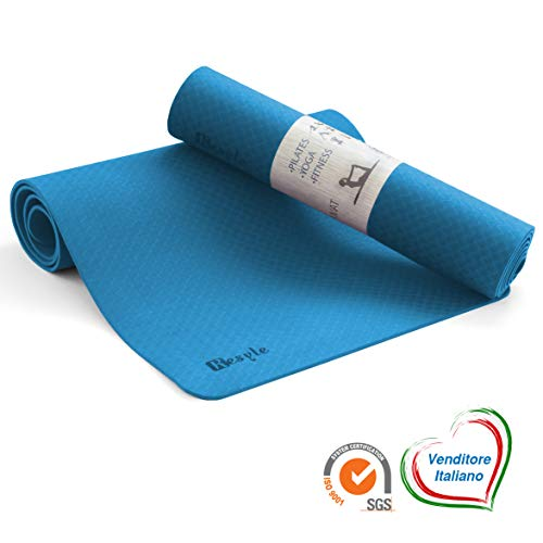 Kesyle Tappetino Fitness 2.0 | 100% TPE Ecologico Antiodore | Tappetino Palestra Fitness | Yoga Mat...