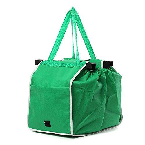 Surenhap Eco Big Shopping Riutilizzabile Pieghevole Trolley Clip Grocery Bag Verde con Velcro Like...