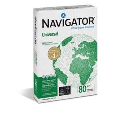 Navigator Universal Papier, Ref.-Nr. NUN0800033, vielseitig einsetzbar eingeriest, 80 g/m² A4 5 x 500 Blatt, Weiß, 5 pro Paket