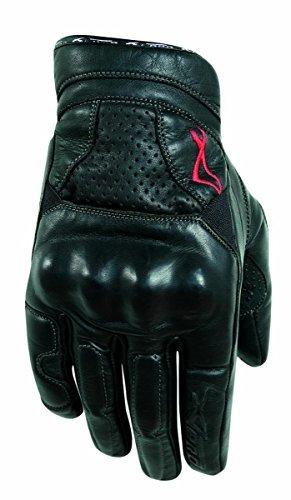A-Pro, Guanti in pelle, protezione nocche, per l'estate, per Racing motocross Quad MX, Nero, M
