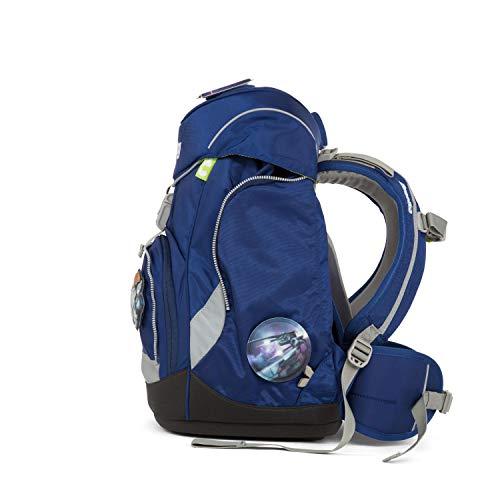 Ergobag Pack BlaulichtBär - Blau, ergonomischer Schulrucksack, Set 6-teilig, 20 Liter, 1.100 g, Blau