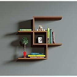 CHAIN Wandregal - Nussbaum - Bücherregal - Hängeregal - Dekoregal für Wohnzimmer in modernem Design …