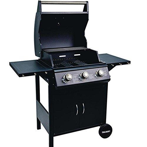 BAKAJI Barbecue a Gas Professionale sistema Pietra Lavica BBQ 3 Fuochi Acciaio con ruote Termometro...