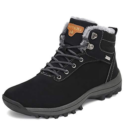 Pastaza Hombre Mujer Botas de Nieve Senderismo Impermeables Deportes Trekking Zapatos Invierno Forro Piel Sneakers Negro,39EU