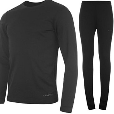 Campri King Fisher Sports Base Layer Thermique Top & Pantalons Junior, Unisexe d'enfants, Couleur Noir