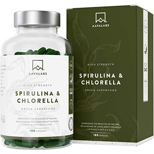 Spirulina Clorella [1800 mg] di AAVALABS - 180 Capsule - Miscela di Alghe Naturali di Alta Qualità con Fitonutrienti - Perfetto per Frullati - 100% Vegano - Testato da Terze Parti - Prodotto in UE