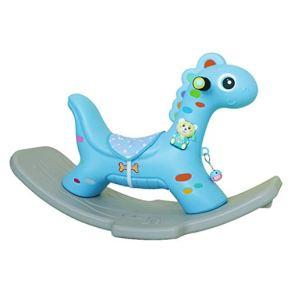 YULAN Rocking Horse Niño Un año de Edad Juguetes Música Bebé Plástico Silla Mecedora 1-2 años Trojan (Color : Blue)