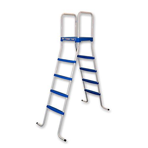 Piscinas Toi 4876 - Escalera de 8 peldaños para piscinas desmontables, 130 x 72 x 140 cm, color blanco