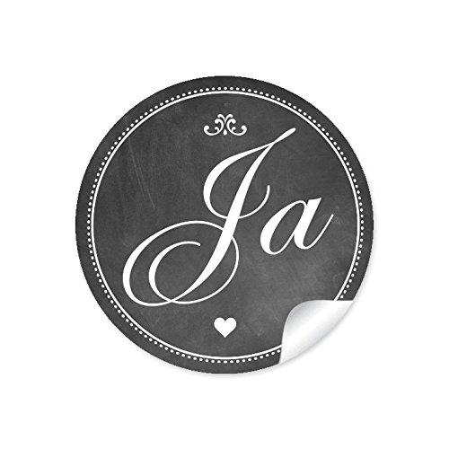 """24 STICKER: 24 Retro Hochzeitsaufkleber\""""JA\"""" im\""""Kreide-Tafel-Look\"""" in anthrazit im Vintage Style zur Hochzeit • Papieraufkleber/Sticker/Aufkleber/Etiketten (Format 4 cm, rund, matt)"""