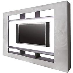 trendteam SD Wohnwand TV Möbel | Weiß Hochglanz | Beton Industry | 216 x 160 cm
