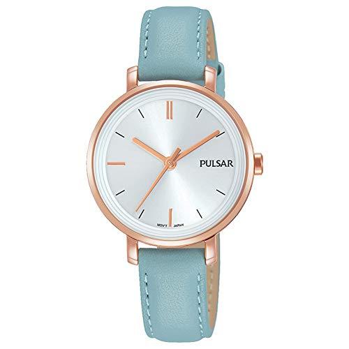 Pulsar Womans Pastellblau Lederband Silber Zifferblatt PH8344X1