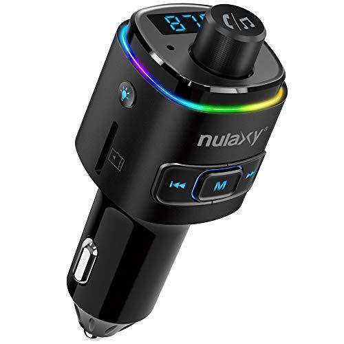 Auto FM Transmitter, NULAXY Bluetooth QC3.0 FM Transmitter Adapter mit 7 Farbe LED Backlit, unterstützt Siri Google Assistent USB Drive TF Karte Handsfrei Sprechen (Schwarz) (Schwarz)