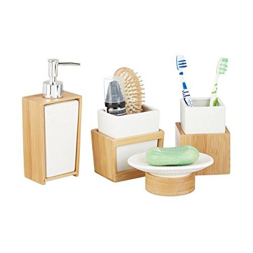 Relaxdays Badezimmer Set, 4-teiliges Badzubehör aus Keramik und Bambus, Seifenspender und Zahnputzbecher, natur-weiß