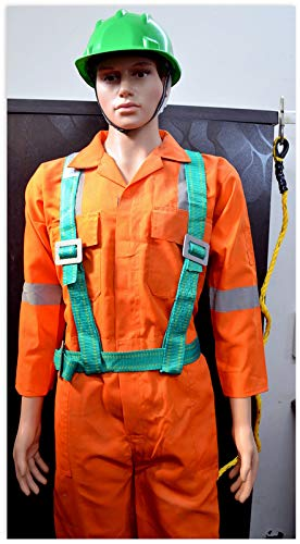 Sai Safety Industrial Fall Protection  Climbing, Rocking, Fire Rescue Full Body Simple Hook Single Rope Saftey Harness (Color may be Blue or Green)