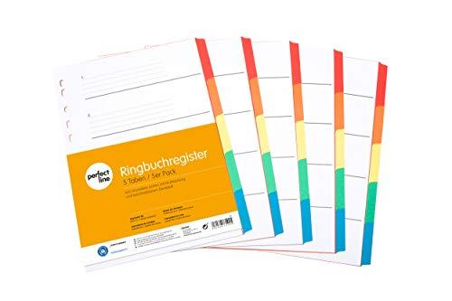 perfect line 5er Pack 5-teiliges DIN-A4 Register farbig (5x5), 22,3 x 29,7 cm, mit Deckblatt, Farb-Trenner aus Karton in 5 Farben, 160 g, perfekte Trenn-Blätter für die Ordner-Organisation im Büro
