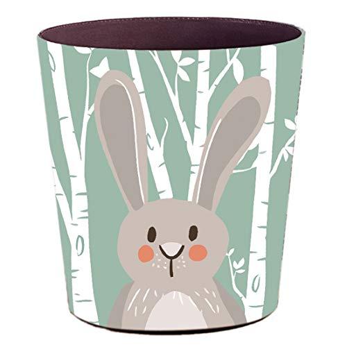 YAKOK Mülleimer Kinderzimmer, 10L PU Leder Tier Dekorativ Papierkorb Kinder für Mädchen Jungen Wohnzimmer Schlafzimmer Kinderzimmer (Kaninchen)