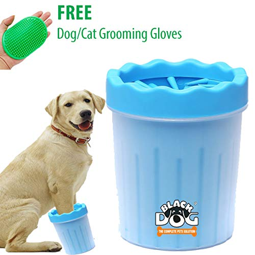 BLACK DOG Dog Grooming Foot/Paw Washing Cup, Pet Paw Cleaner, Portable Dog Washer with Feet Soft Silicone Bristles Small Medium Dogs (Small-Color May Vary)