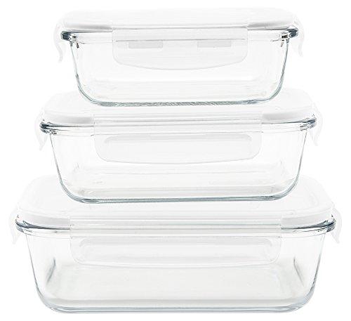 Pebbly pkv-3srb Set de 3bandejas/cajas rectangular (cristal transparente, 21x 15, 5x 15cm
