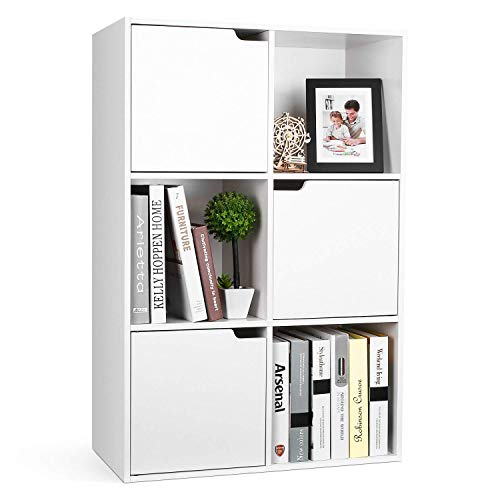 Homfa Mensola Libreria in Legno con Cubi e Ante Mobile Portaoggetti Scaffale Cubo Porta Libri CD...