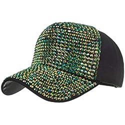 zarupeng✦‿✦ Hombres Mujeres Gorras de béisbol Moda Algodón Ajustable Estrella Estrella Rhinestone Sombrero de lentejuelas