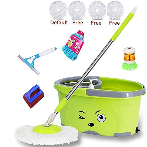 JSN Magic Dry Bucket Mop with 4 Refill and 1 Tile Brush, 1 Washbasin Brush, 1 Gloves Set with 1 Spray Wiper Mop Set (Medium, Green)