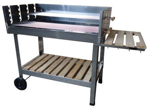 Wagner Barbecue a carrello in acciaio inox, a carbonella, Barbecue XXXL, per fare un barbecue in compagnia, mobile