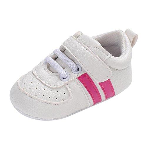 Primi Passi Bimba Scarpe Neonato Unisex in Pelle Morbida - Sneaker Antiscivolo 0-18 Mesi (età: 6~12 Mesi, Rosa Caldo 2)