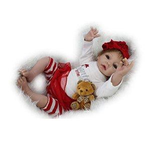 NPKDOLL Renacer De La Muñeca De Silicona Suave Vinilo De 22 Pulgadas 55 Centímetro Magnética Boca Realista Niño Niña Juguete Santa Rojo Blanco Reborn Doll A1ES