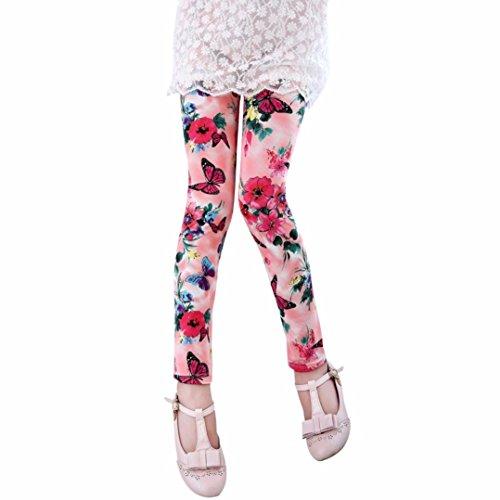 MYQyiyi niñas Nueve pantalones de Seda de leche impresión de flores y Mariposas (2-3 años, Rosa)