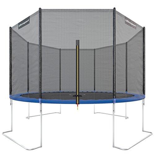 Ultrasport Jumper - Cama elástica de jardín con red de seguridad incluida, azul, 366 cm