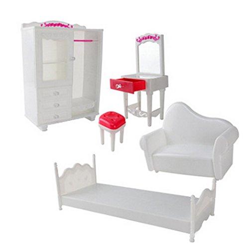 Beetest 5PCS Accessori Mobili per Bambole Kit Armadio Comò Sedia Divano Letto Accessori per Barbie Giocattoli per Bambini Bambine Compleanno Regalo di Natale