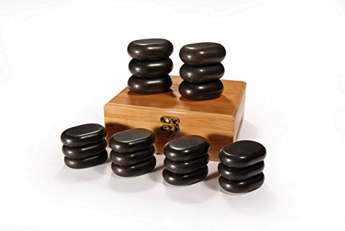 Master Massage Hot Stone Set Massagesteine Massage stones, 18 Stück. in dekorativer Bambuskiste America Brand