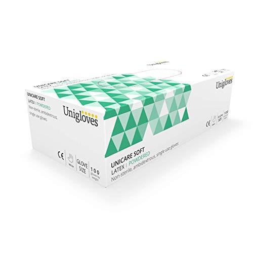 Unigloves UCL1205 - Guanti in lattice con polvere, misura XL, scatola da 100 pz