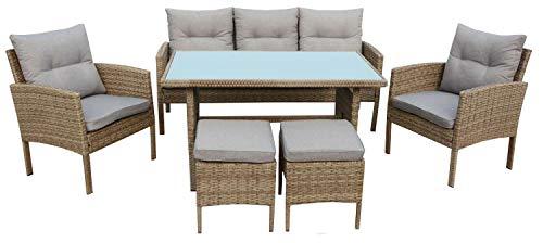 AVANTI TRENDSTORE - Alima - Set di mobili in polirattan Marrone con Cuscini Grigi compresi, Ideale per Il Balcone o per Il Proprio Giardino.
