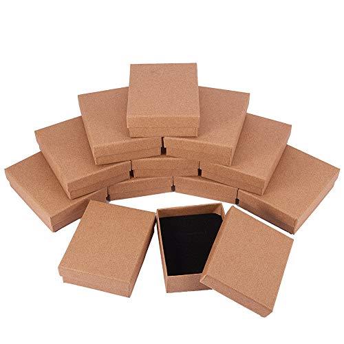 BENECREAT 12 Pack Scatole di Cartone per Collana 9x7x3cm Scatola Regalo Piccola Rettangolare...