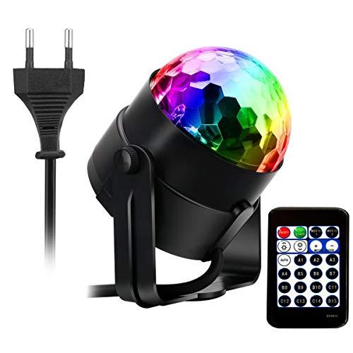 AOGUERBE Luci Discoteca Lampada da Palco RGB LED Mini DJ Palla Cristallo Luce di Scena Lampadina...