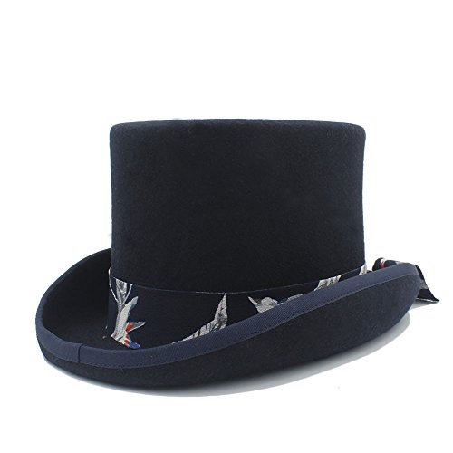 WF Store DIY Steampunk Sombrero de Copa con Patrón Azul Sombrero de Sombrerero Loco para Mujer Una Variedad de Estilos (Color : Black, Tamaño : 61CN)