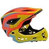 KIDDIMOTO Unisex-Youth IKON Full Face Cycle Helmet, Yellow/Orange, Small (48-53cm)