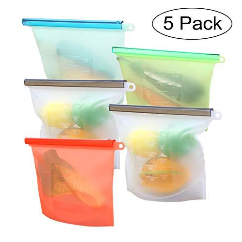 YHmall 5 Pezzi Riutilizzabile in Silicone Alimentare Storage Bag, ermetica, Perdita Resistente conservazione degli Alimenti Contenitore per Frutta Verdura Carne frigoriferi e Utensili da Cucina
