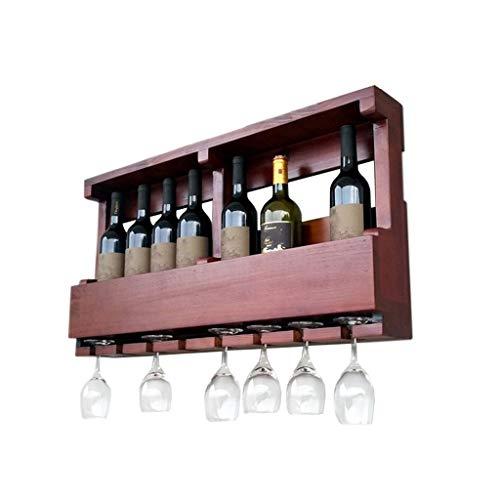 LXDDP Scaffale per Vino Mobile da appoggio in Legno con piedistallo, portabottiglie Vintage per...