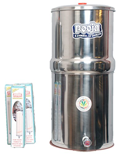 Pooja 36Liters Stainless Steel Water Filter with 3 Candles, 1Piece, Silver
